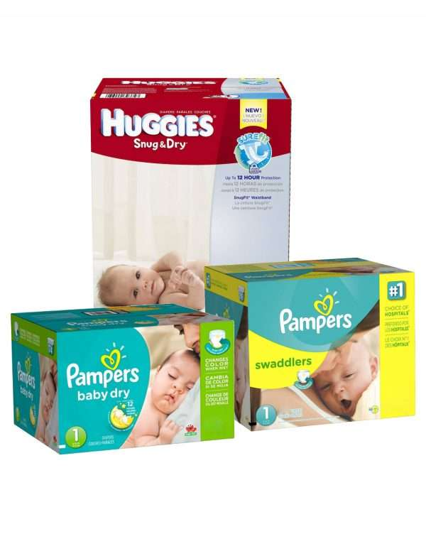 3 cases of diapers Huggies Pampers