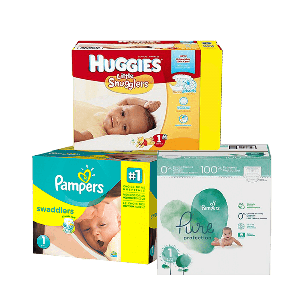 Pamper swaddler huggies little snugglers and pamper pure boxes of diapers