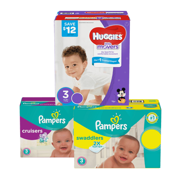 three boxes of huggies and pampers diapers