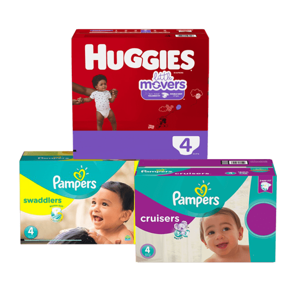 3 boxes of diapers huggies and pampers with checker background