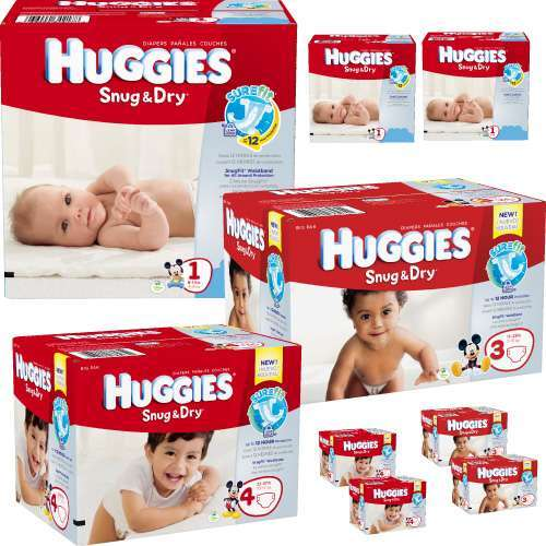 Nine cases of Huggies diapers for delivery service for triplets