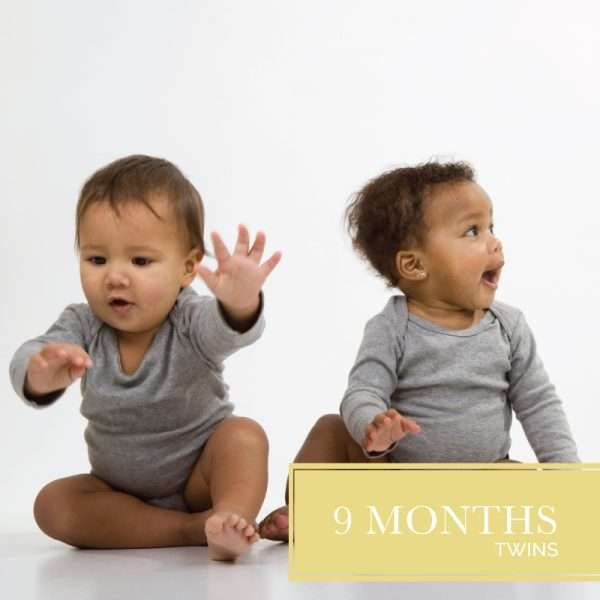 Nine months of diapers for twins two babies in gray onsies
