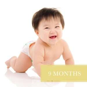 Baby in diapers for 9 month diaper delivery