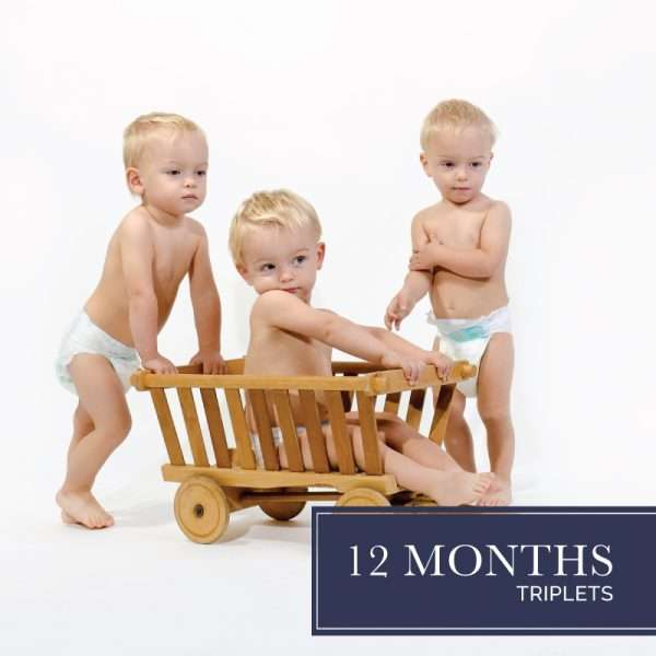 Twelve months of diapers for triplets