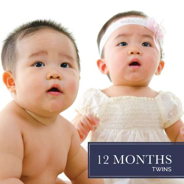 Twelve months of diapers for twins
