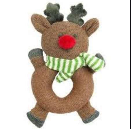 Reindeer baby rattle