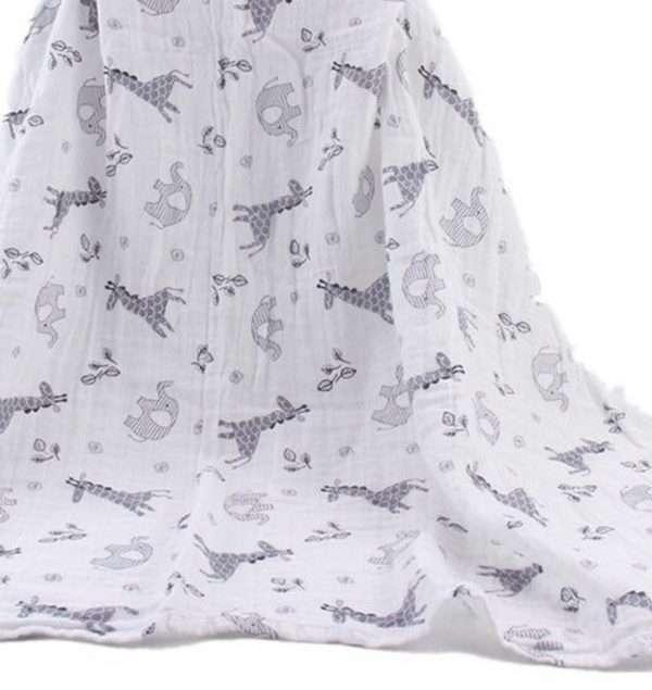 Elephant giraffe baby swaddle draped gray and white