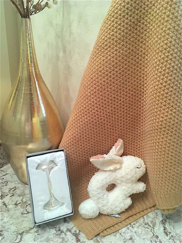 Oatmeal bunny rattle and silver plated rattle