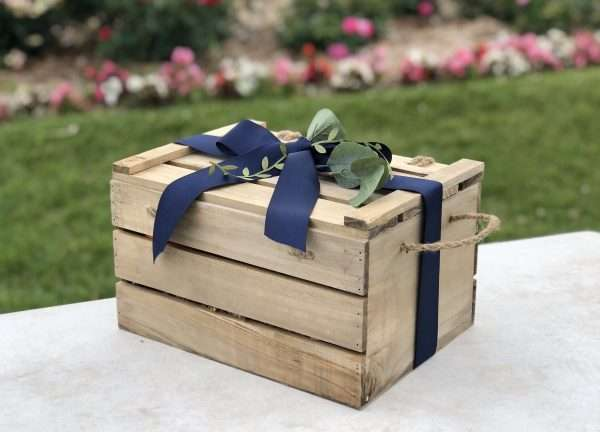 baby shower wooden Crate in garden