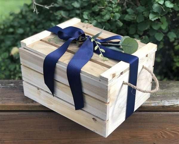 Baby shower gift crate in garden