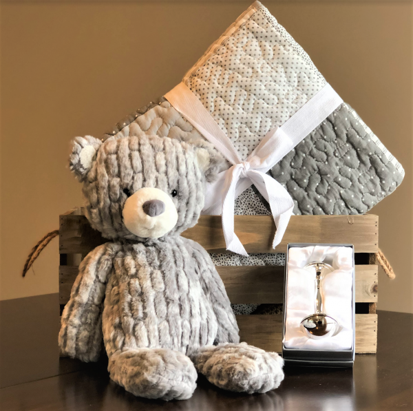 Luxury baby gift gray quilt teddy bear and silver rattle
