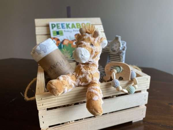 Wooden crate with baby toys