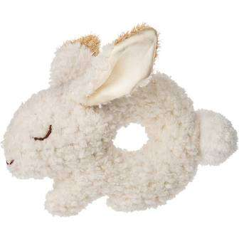 Soft oatmeal bunny ring rattle