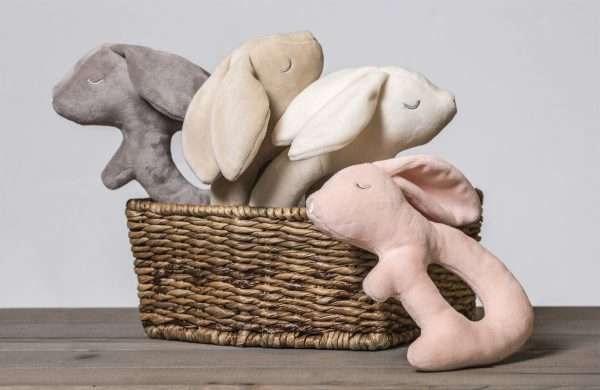 Putty Bunny Rattles ina brown basket