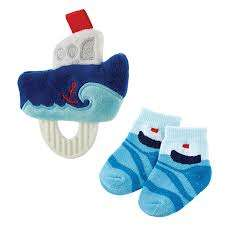 Soft tub boat rattle and blue sail boat socks for boy
