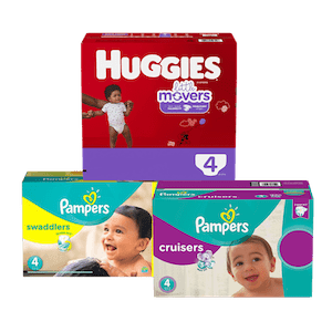 photo of three big cases of diapers