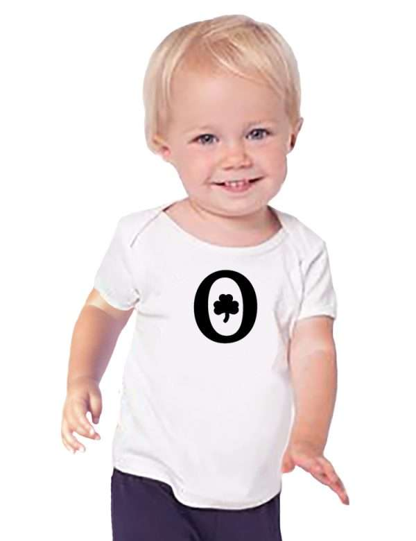 toddler with company logo on tshirt