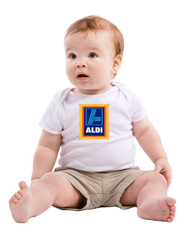Baby with corporate logo on shirt