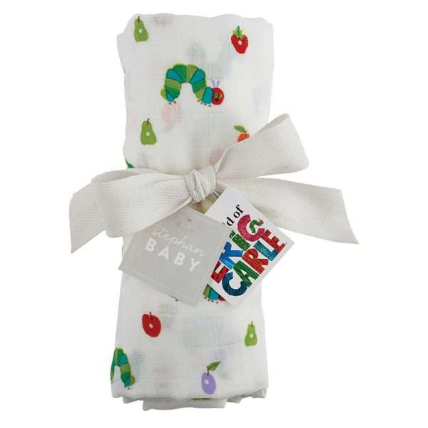 Very Hungry caterpillar swaddle blanket ready to give as a gift
