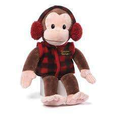 Curious George in red checkered vest and earmuffs