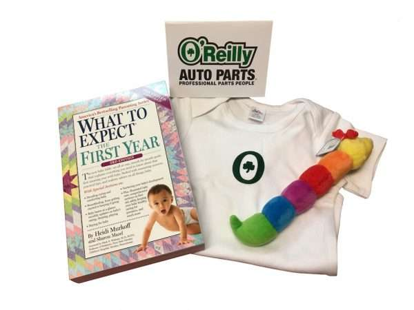 Corporate baby gift book onesie rattle and card