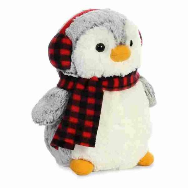 Plush Penquin in red checked scarf