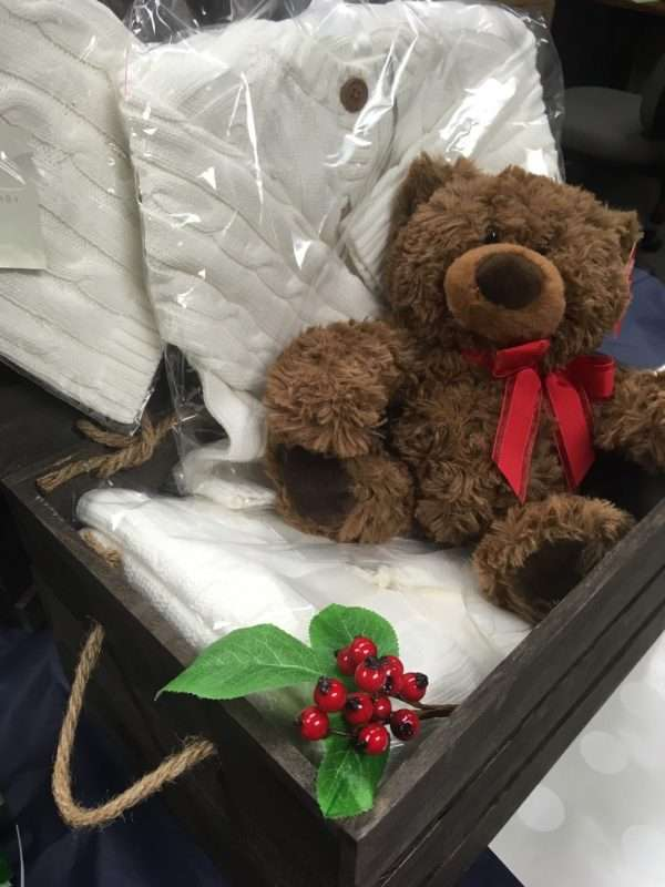 baby christmas gift with teddy bear