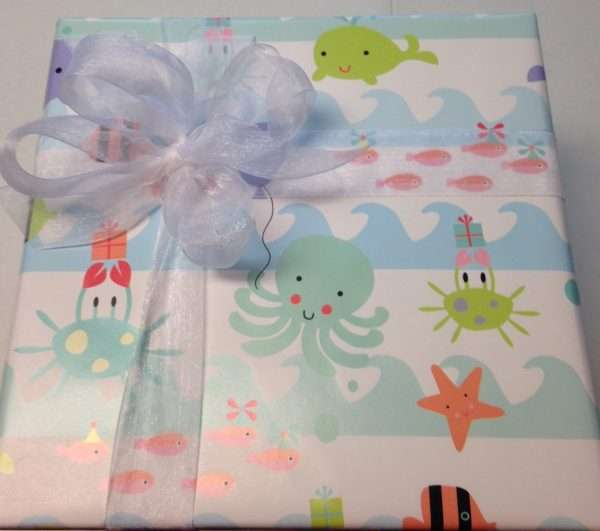 Baby gift wrapping paper and bow