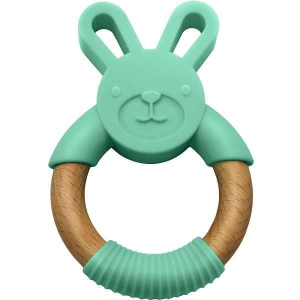 Green Silicone Bunny Teether