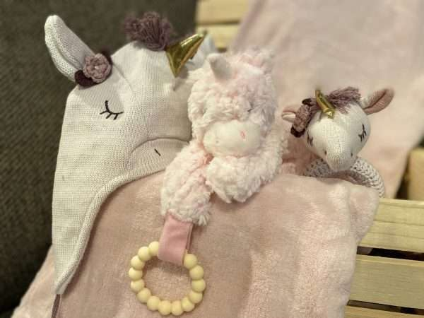 Unicorn gifts for baby in wooden crate