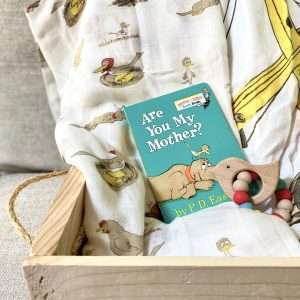 wooden box with baby swaddles baby book and teether for luxury gift