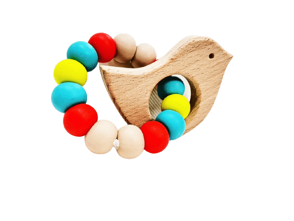 wooden bird with silicon beads for teether