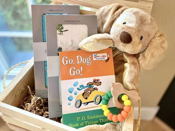 Baby gift in wooden crate with go dog go book, swaddles with go dog go print and rattle and plush dog