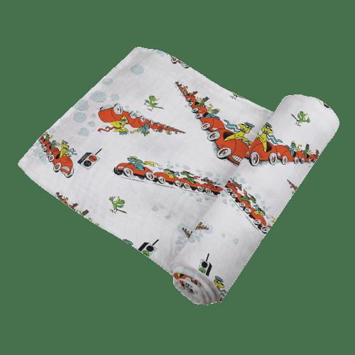Go Dog Go car print swaddle blanket for baby