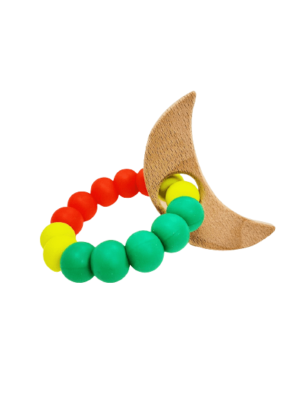 Wooden moon and silicone bead teether
